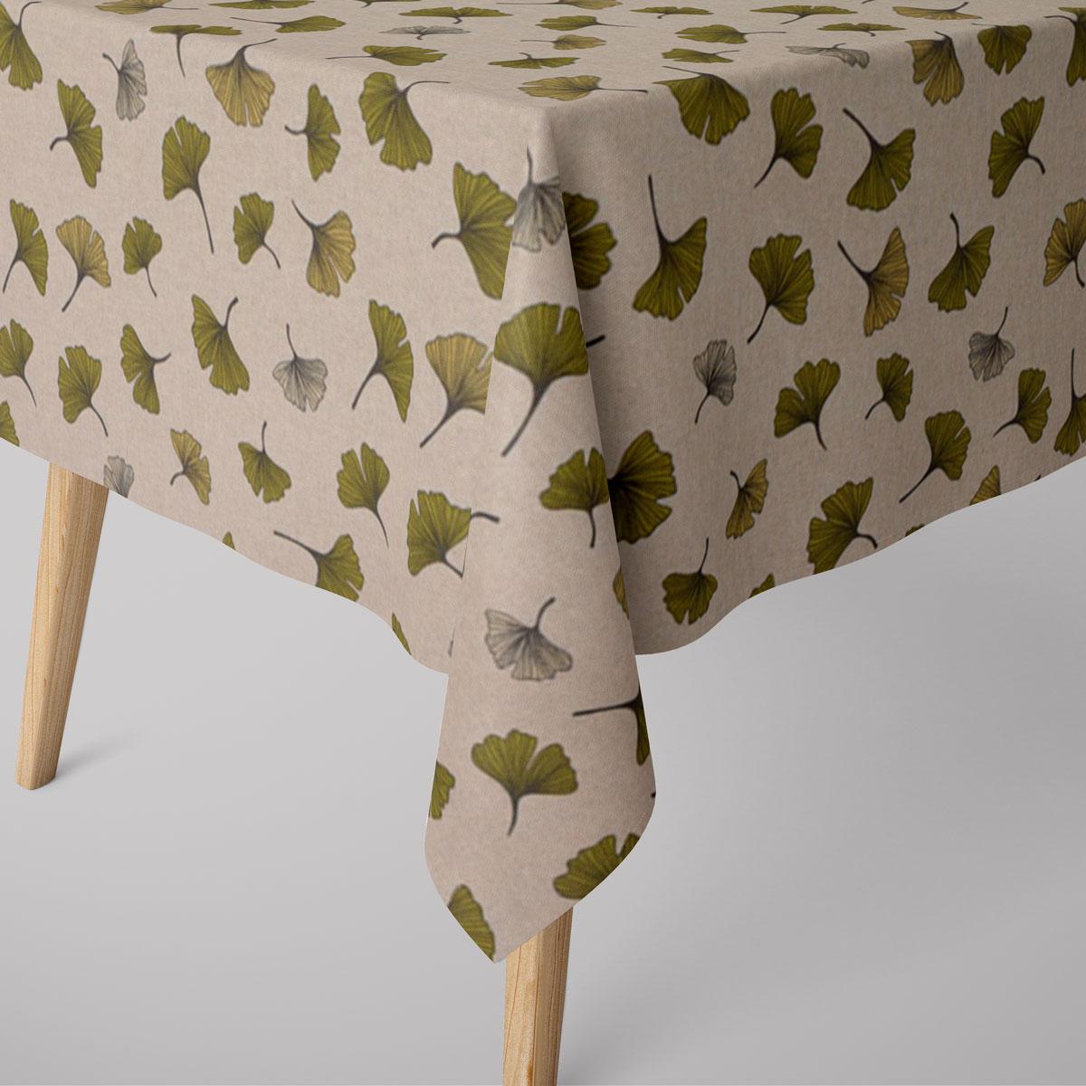 SCHÖNER LEBEN. Tischdecke Leinenlook Ginko Leaf Ginkgo Blatt natur grün verschiedene Größen