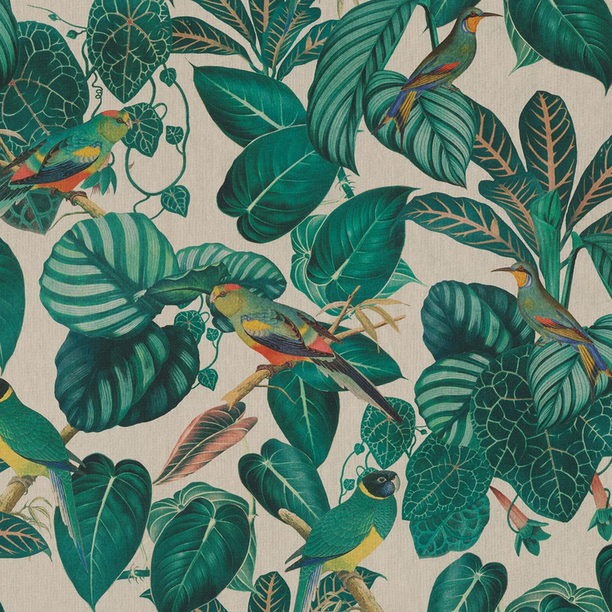 Dekostoff Halbpanama Leinenlook Calathea Leaves Blätter Papageien natur grün 1,40m Breite