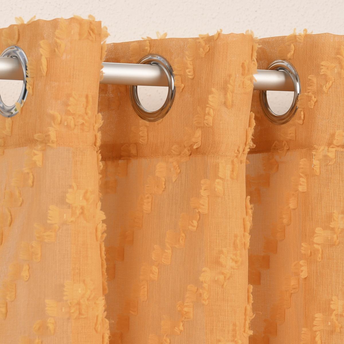 Ösengardine Zickzack mit Scherli-Effekt senfgelb 140x260cm