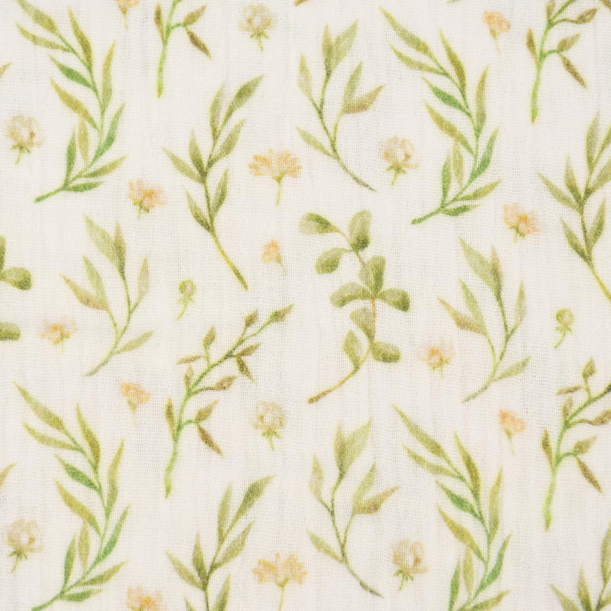 Bekleidungsstoff Musselin Digitaldruck Blumen Bl\u00e4tter offwei\u00df gelb ocker gr\u00fcn 1,30m Breite