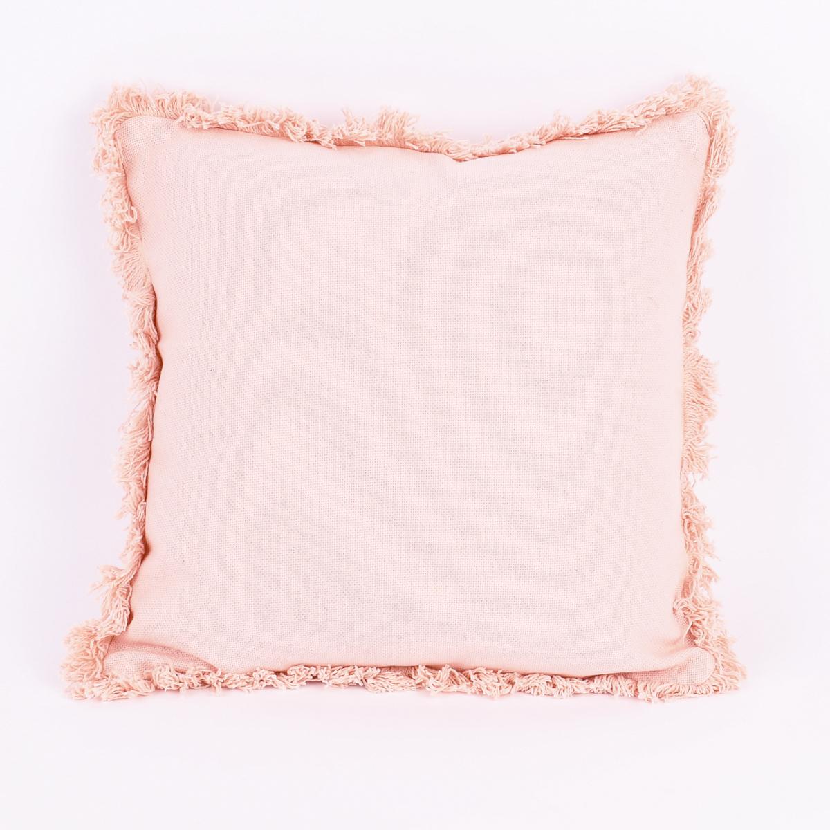 Deko Kissen mit Fransenumrandung rosa 40x40cm