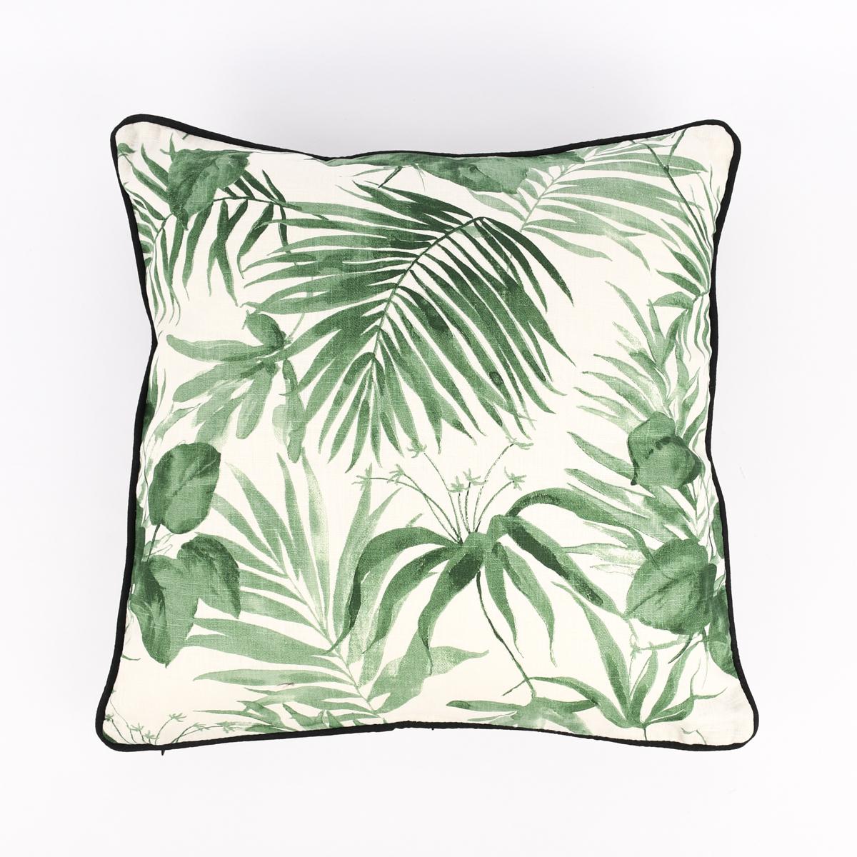 Deko Kissen mit Kederumrandung Palmenblätter weiß schwarz grün 50x50cm