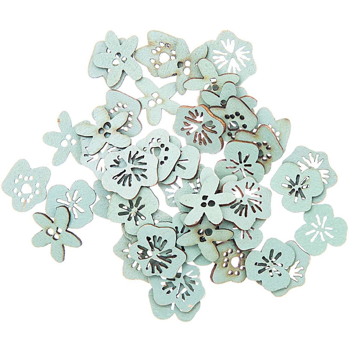 Rico Design Dekostreu Blüten Holz 48 tlg. grün