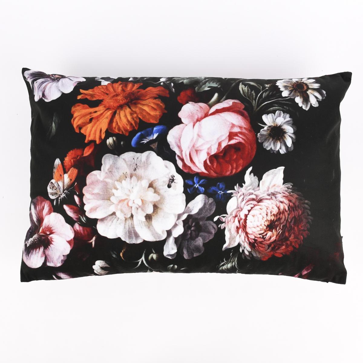 Deko Kissen Samtoptik Blumen-Bouquet Vintage Flowers schwarz 40x60cm