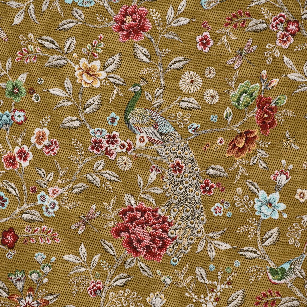 Dekostoff Jacquard SIAM Blumen Blätter Pfau groß senf goldfarbig bunt 1,4m Breite