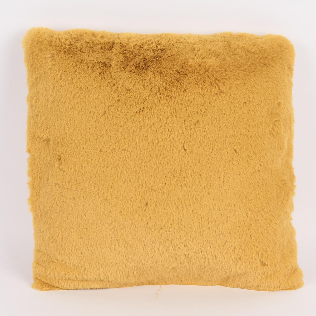Deko Kuschelkissen Plüsch einfarbig gelb 45x45cm