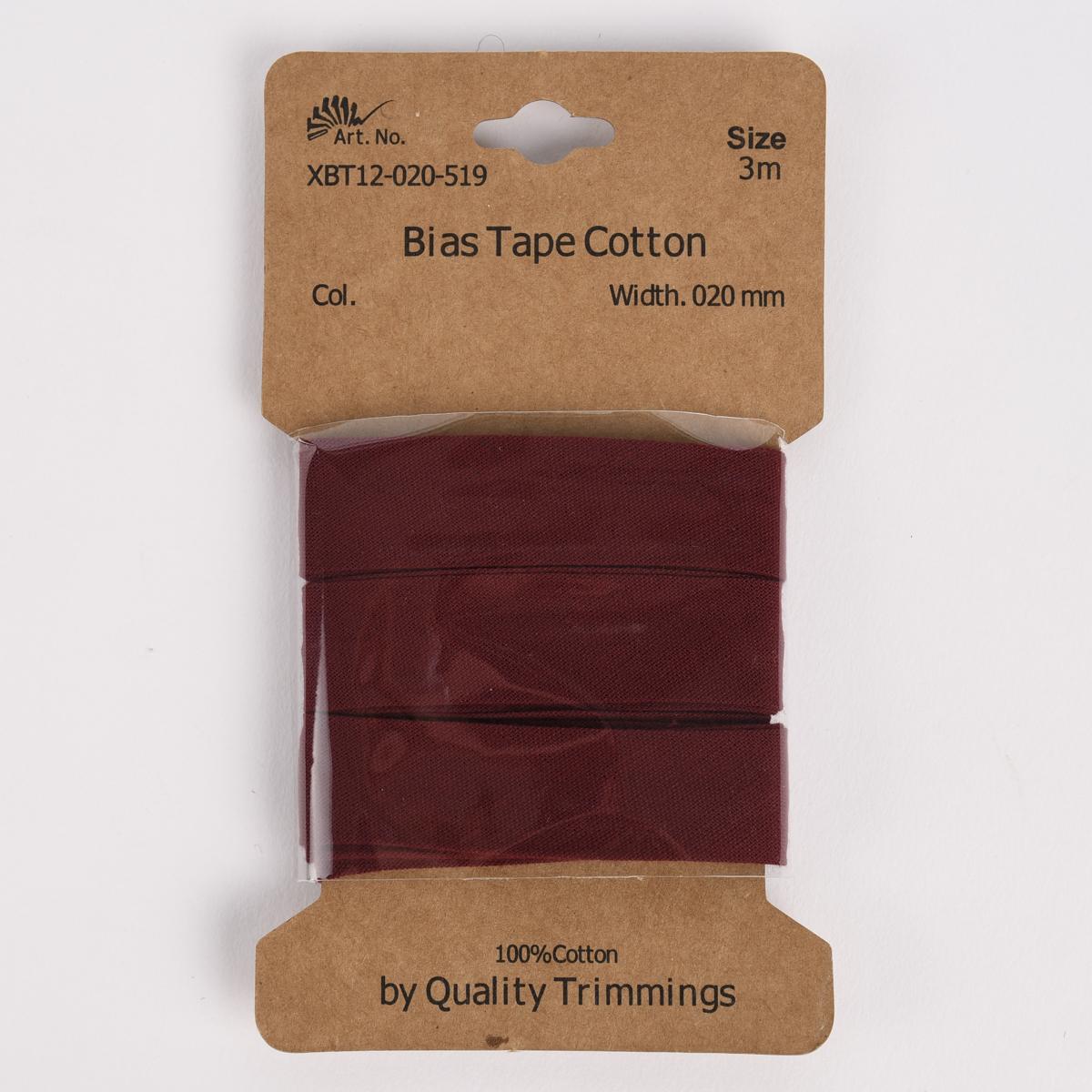 Schrägband Einfassband Baumwolle 20mm uni dunkelrot 3m