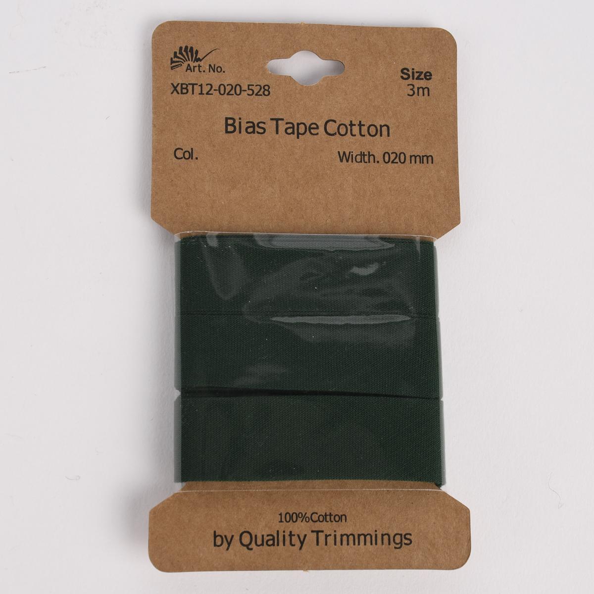 Schrägband Einfassband Baumwolle 20mm uni tannengrün 3m