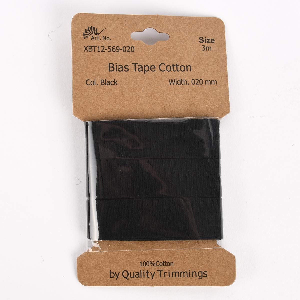 Schrägband Einfassband Baumwolle 20mm uni schwarz 3m