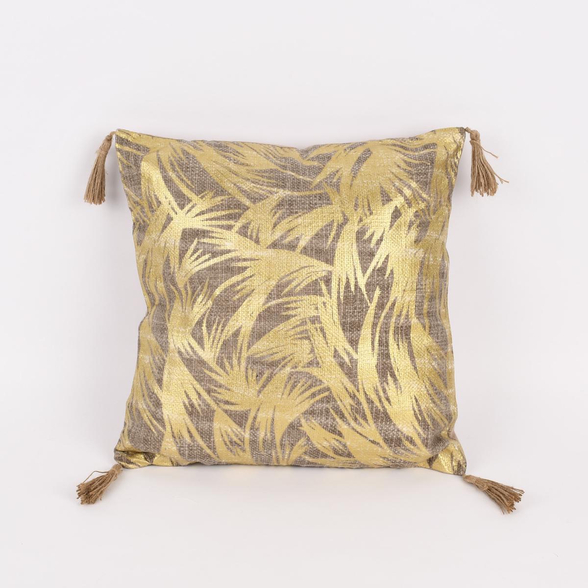Deko Kissen abstrakt mit Quasten Leinenoptik natur goldfarbig 40x40cm