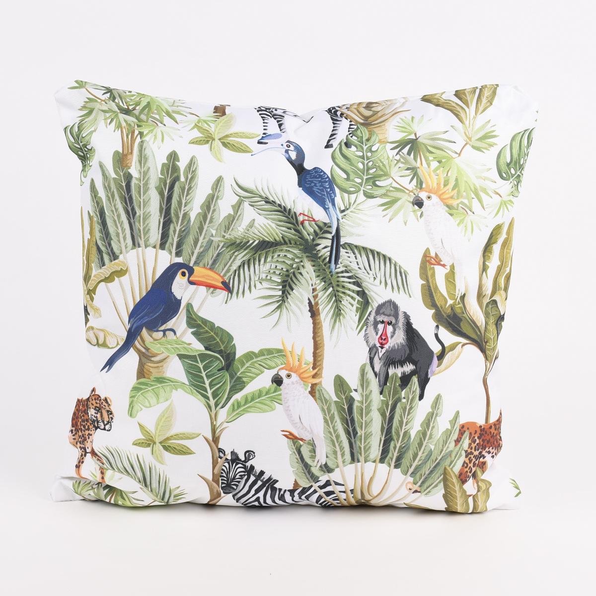 Outdoor Kissen Jungle weiß bunt 45x45cm
