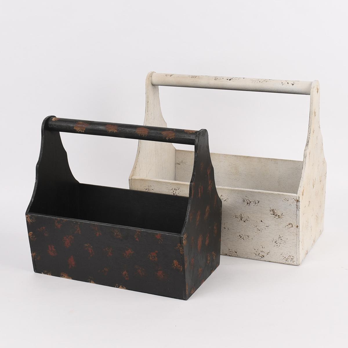 Pflanzenkiste Holz-Tragekiste Vintage schwarz weiß 2er Set