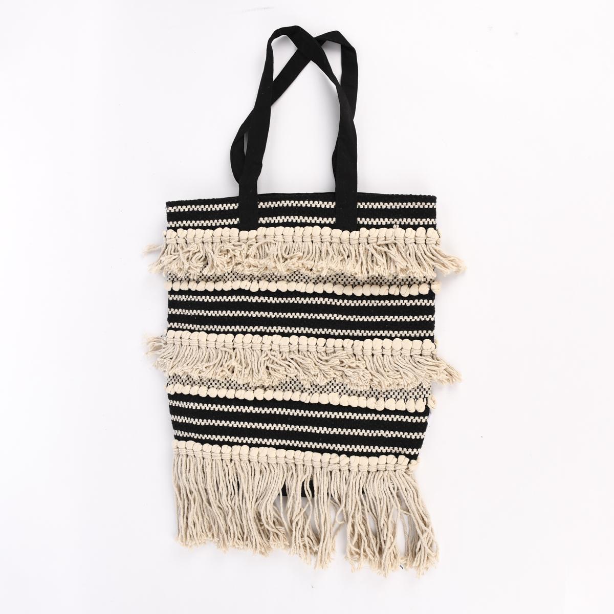 Tasche Boho Chic Fransen natur schwarz 38x42x10cm