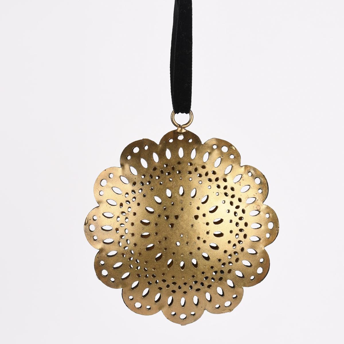 Deko Hänger 3D Ornament Metall Cut-Out messingfarbig 4x11cm