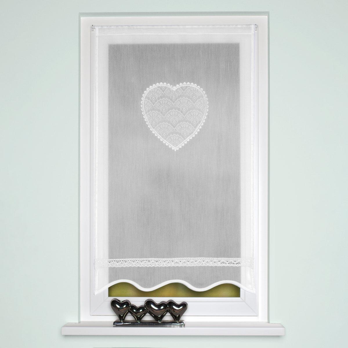 Fensterbehang Türbehang Batistoptik Applikation Herz mit Häkelborte 180x60cm
