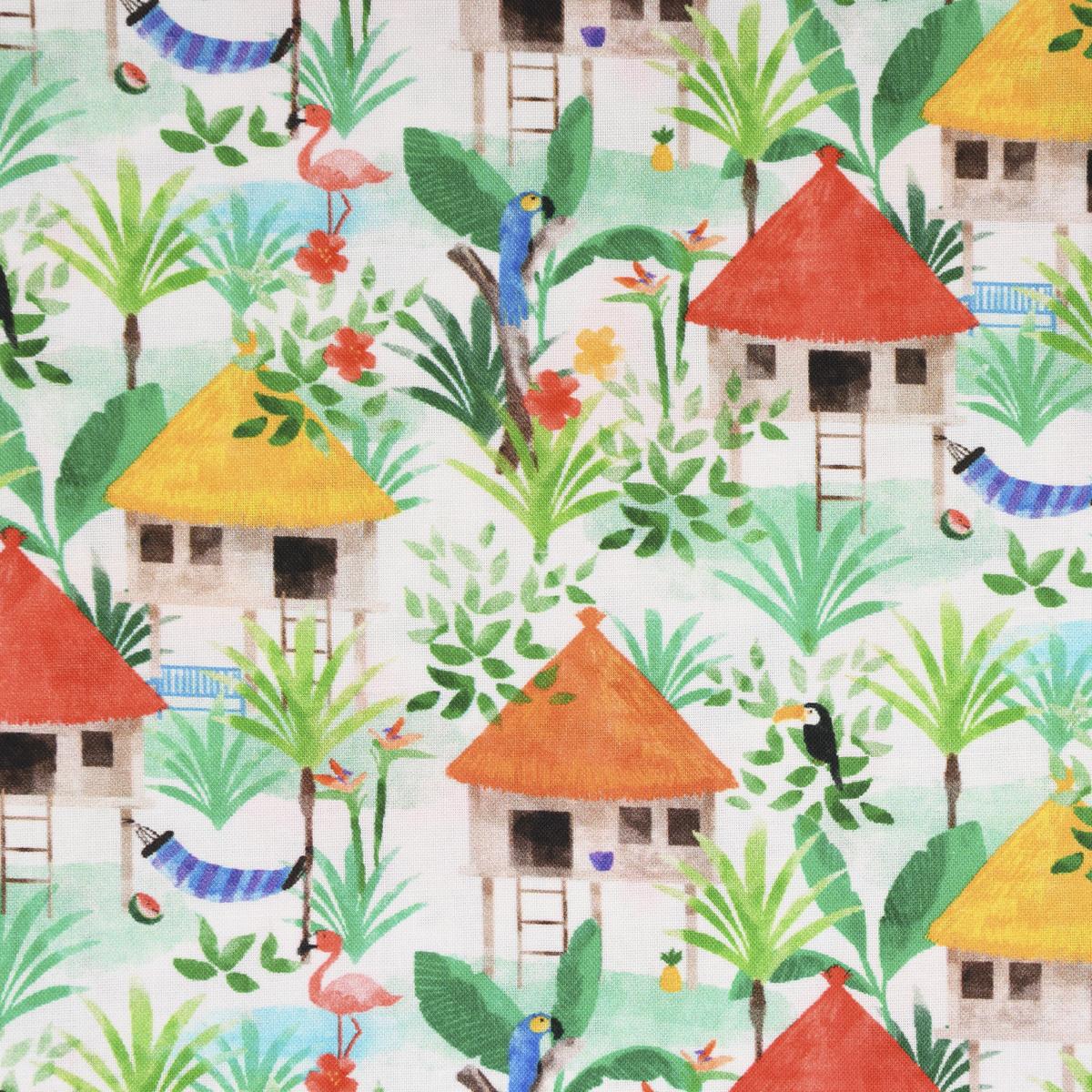 LeQuilt Patchworkstoff Baumwollstoff Popeline Gamboa Hütten weiß grün 115cm Breite
