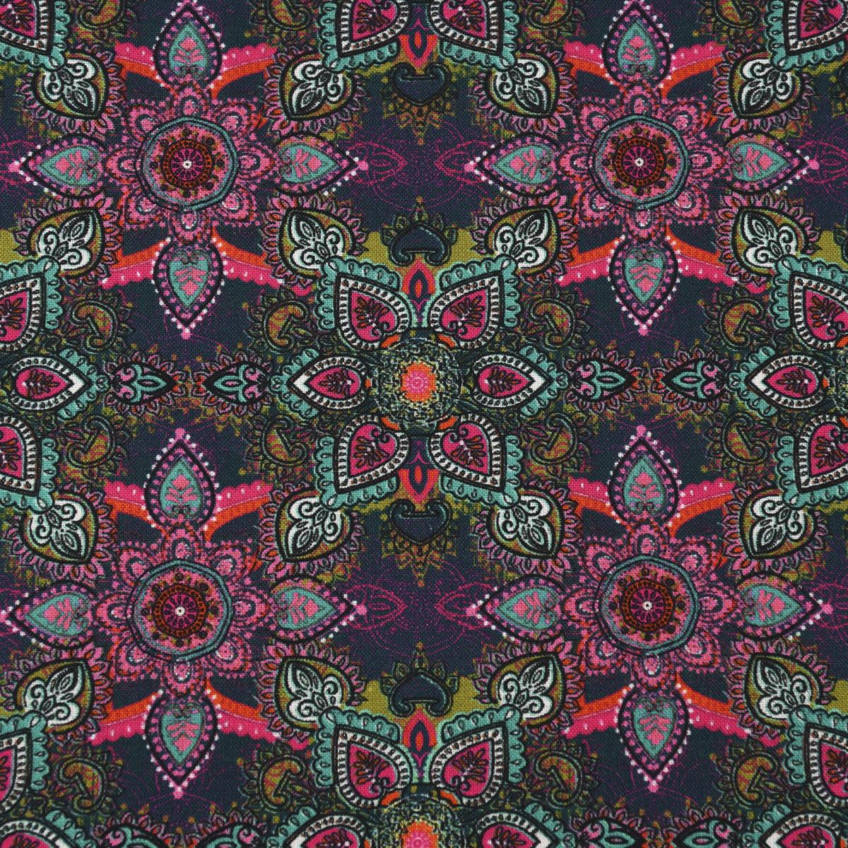 LeQuilt Patchworkstoff Baumwollstoff Popeline Mohican Ornamentblumen 115cm Breite