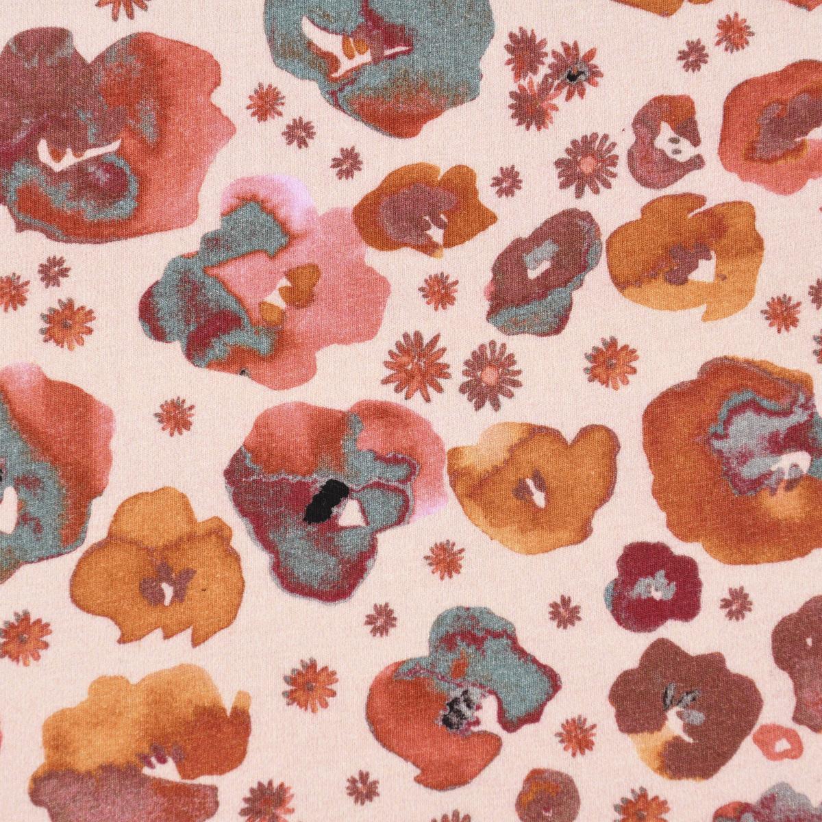Baumwolljersey GOTS Bio Digitaldruck Blumen Mohn Aquarell apricot orange blau 1,4m Breite