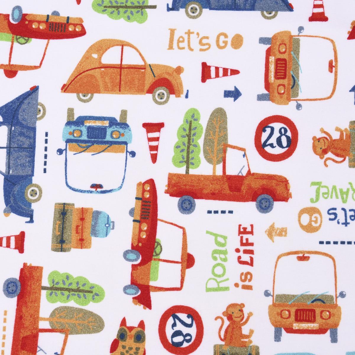 Bio French Terry GOTS Digitaldruck ROAD Autos Bäume weiß bunt 1,45m Breite