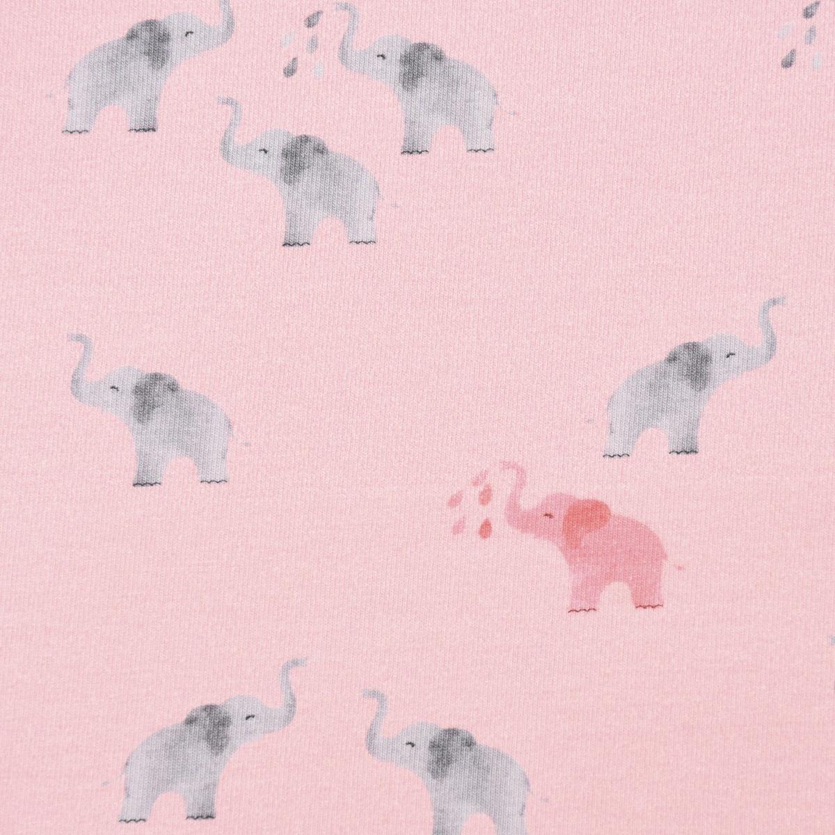 Baumwolljersey Digitaldruck Elefanten rosa grau 1,5m Breite