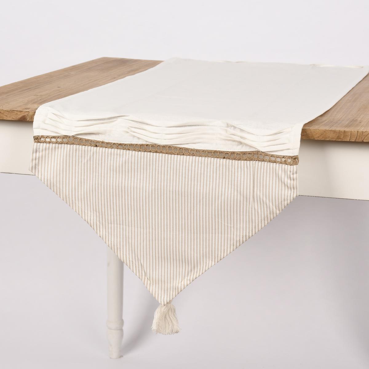 Tischläufer gestreift mit Quaste Dreiecksabschluss weiß natur 50x160cm