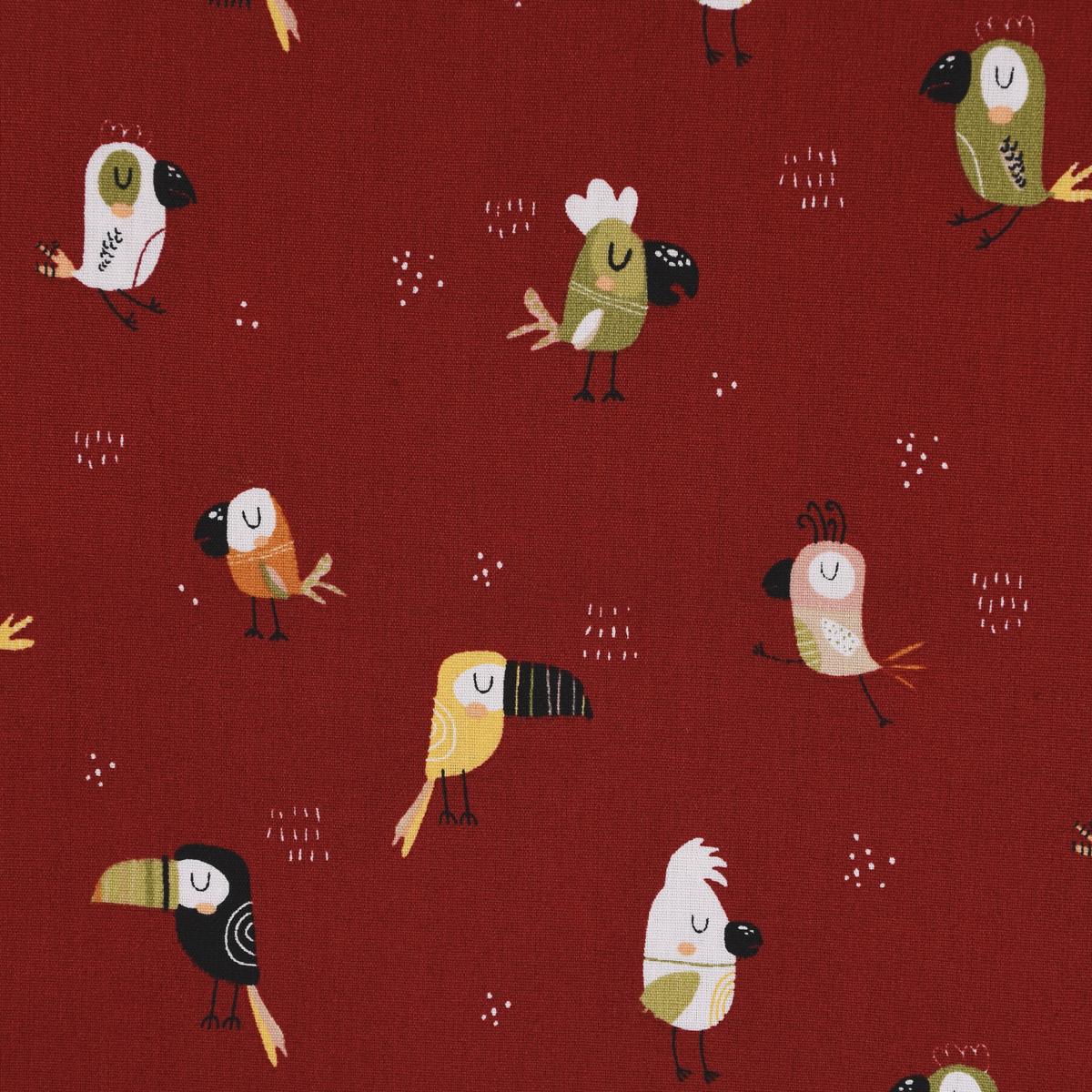 Baumwollstoff Popeline COOL BIRDS Tukan Kakadu dunkelrot bunt 1,45m Breite