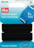 Prym 2m Einfaßband Elastic Gummiband 15mm schwarz