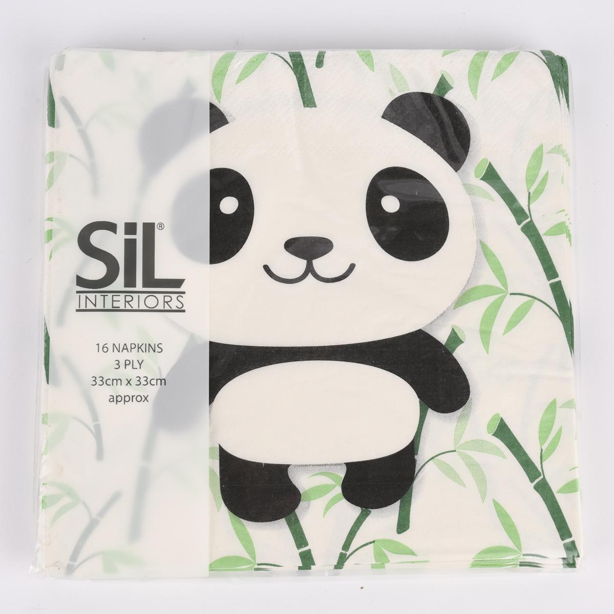 Serviette Panda Bambus weiß schwarz grün 33x33cm 16 Stück verschiedene Motive