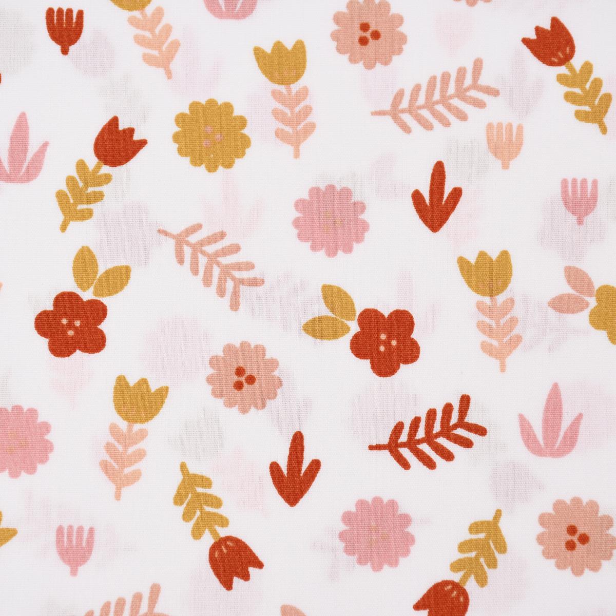 Baumwollstoff Popeline LOVELY STORY Blumen Blätter weiß rosa ocker 1,45m Breite