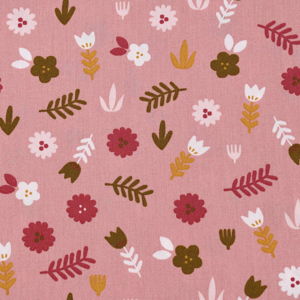 Baumwollstoff Popeline LOVELY STORY Blumen Blätter rosa pink ocker 1,45m Breite