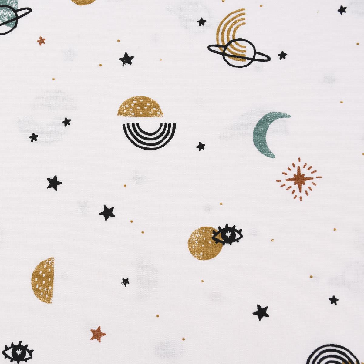 Baumwollstoff GOTS Bio Popeline GALAXY Monde Sterne Planeten weiß schwarz türkis 1,45m Breite