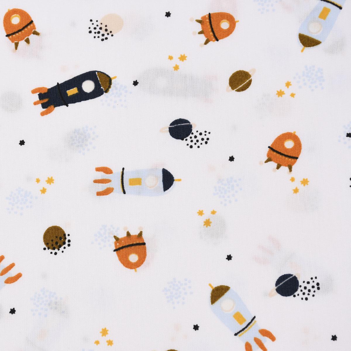 Baumwollstoff Popeline STRIPE AND SPACE Raketen Weltraum weiß hellblau orange 1,45m Breite