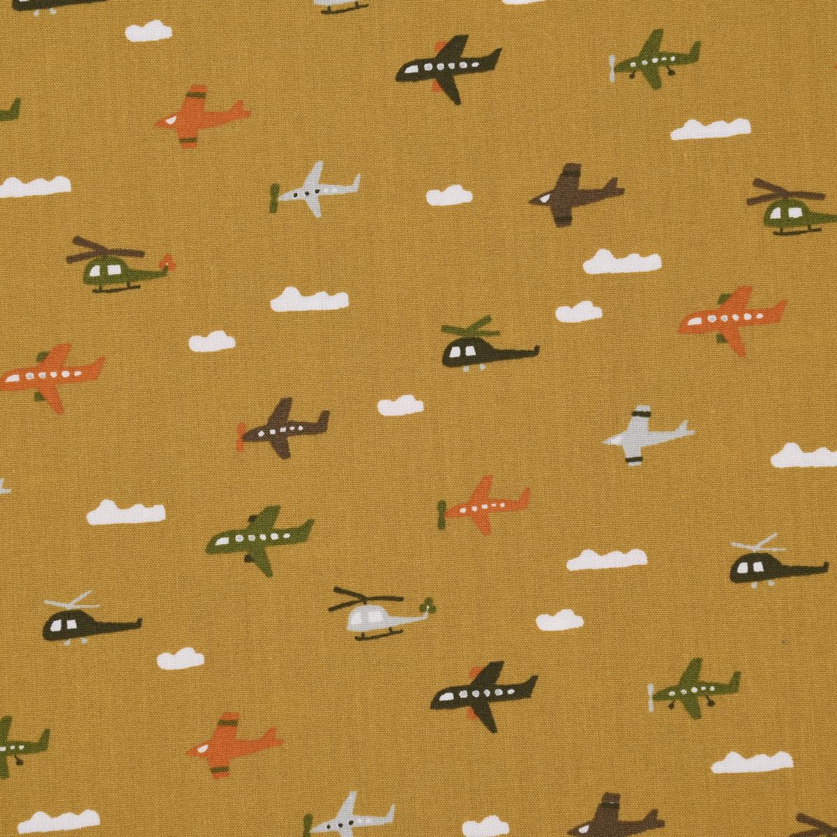 Baumwollstoff Popeline BRUSHED FLY WITH ME Flugzeug Wolke ocker weiß bunt 1,45m Breite