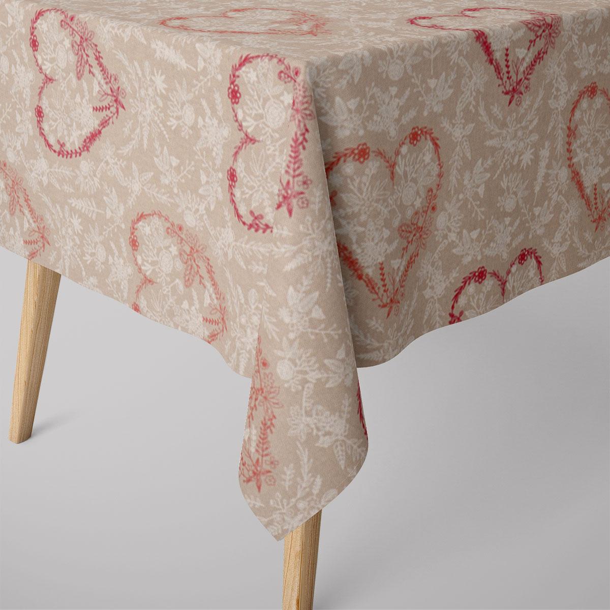 SCHÖNER LEBEN. Tischdecke Leinenlook Heart Blumenherz natur weiß pink verschiedene Größen