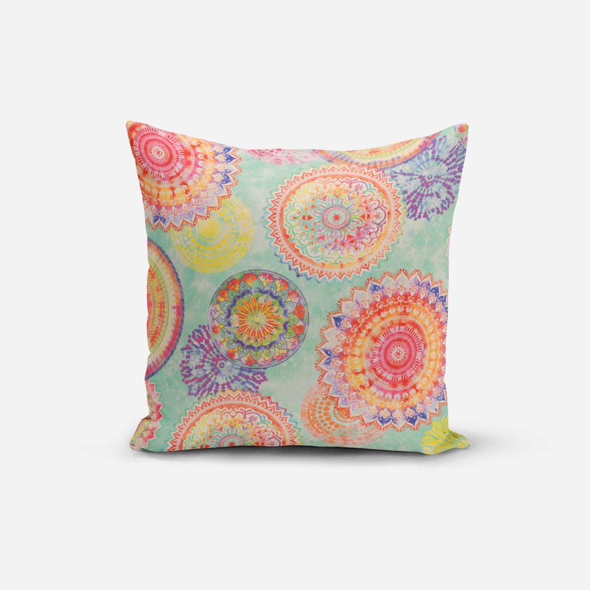 SCHÖNER LEBEN. Kissenhülle Outdoor Mandala Watercolour mint bunt verschiedene Größen
