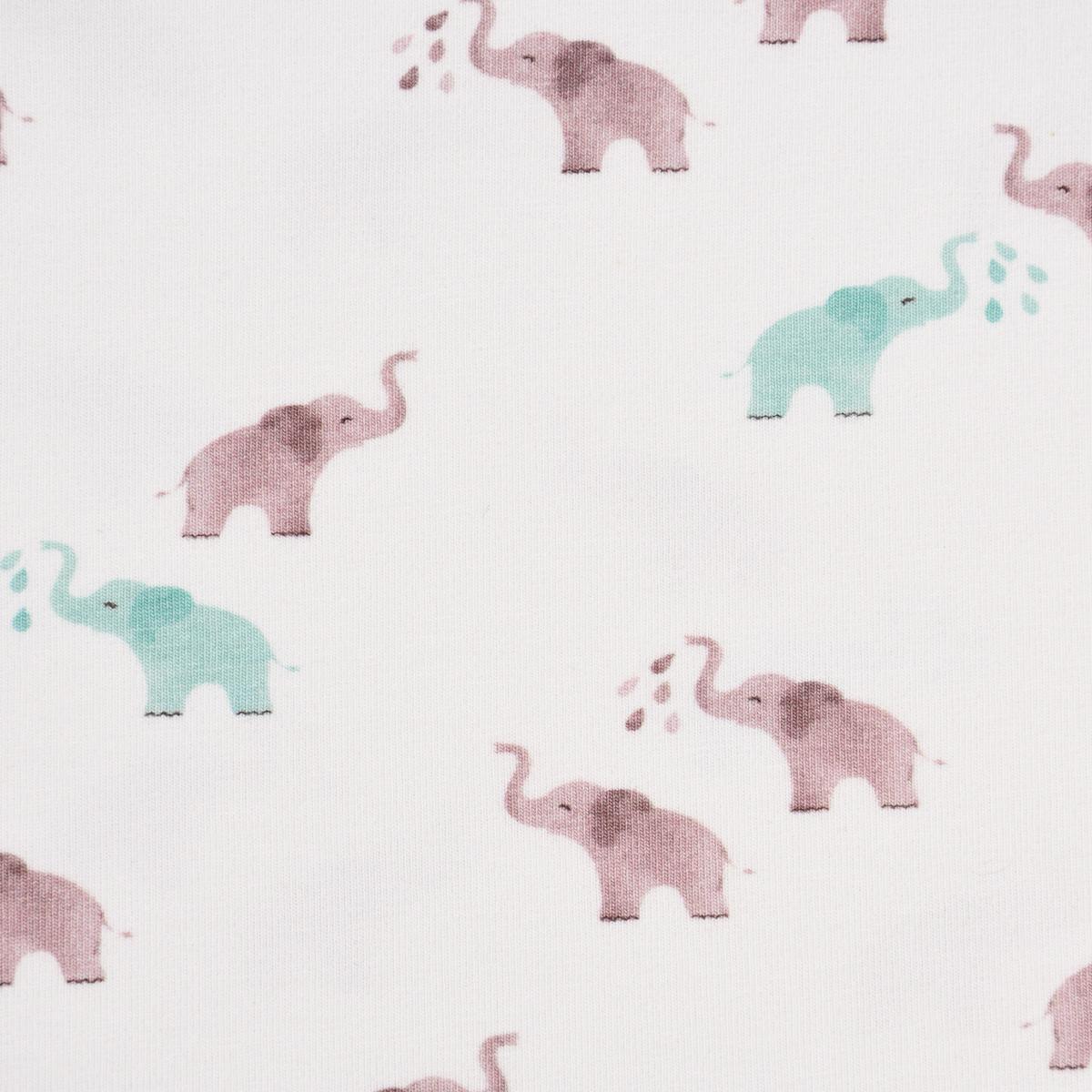 Baumwolljersey Digitaldruck Elefanten weiß altrosa mint 1,5m Breite