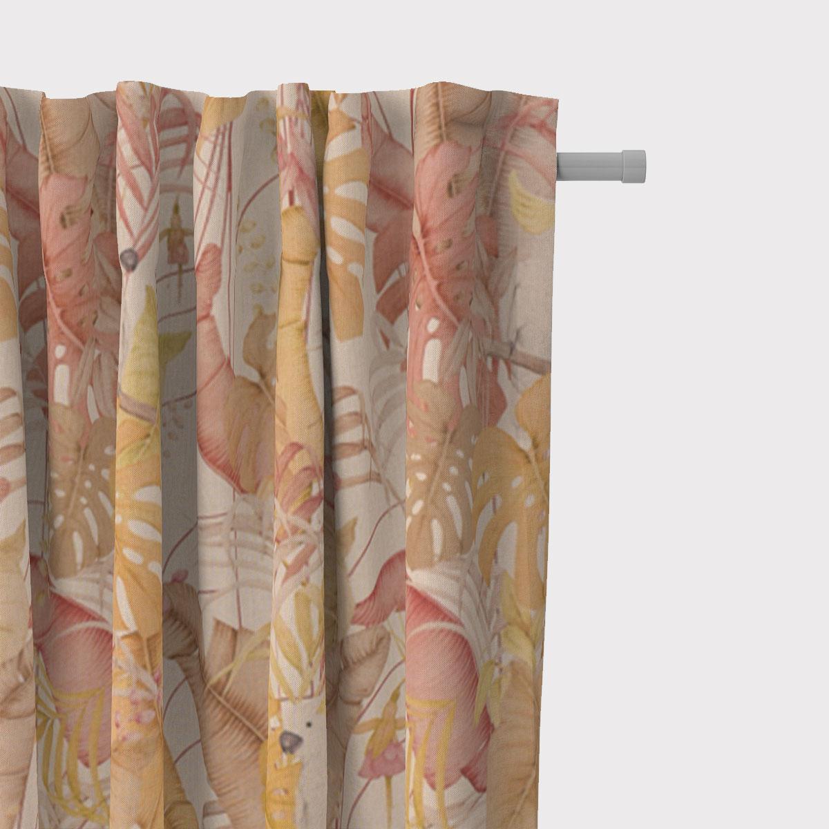 SCHÖNER LEBEN. Vorhang Leinenlook Royal Cockatoo Palmenblätter Kakadus natur gelb rosa 245cm oder Wunschlänge