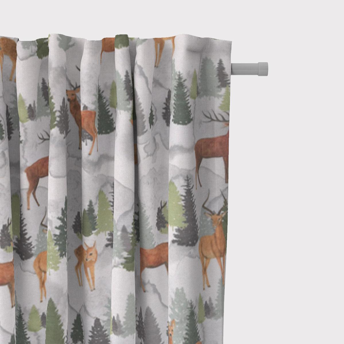 SCHÖNER LEBEN. Vorhang Andia Hirsche Rehe Tannenbäume weiß grün braun 245cm oder Wunschlänge