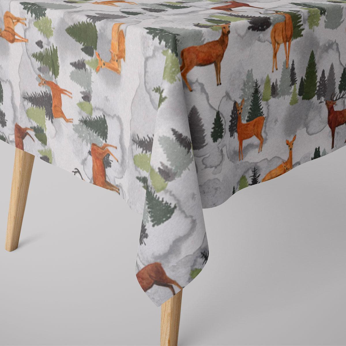 SCHÖNER LEBEN. Tischdecke Andia Hirsche Rehe Tannenbäume weiß grün braun verschiedene Größen