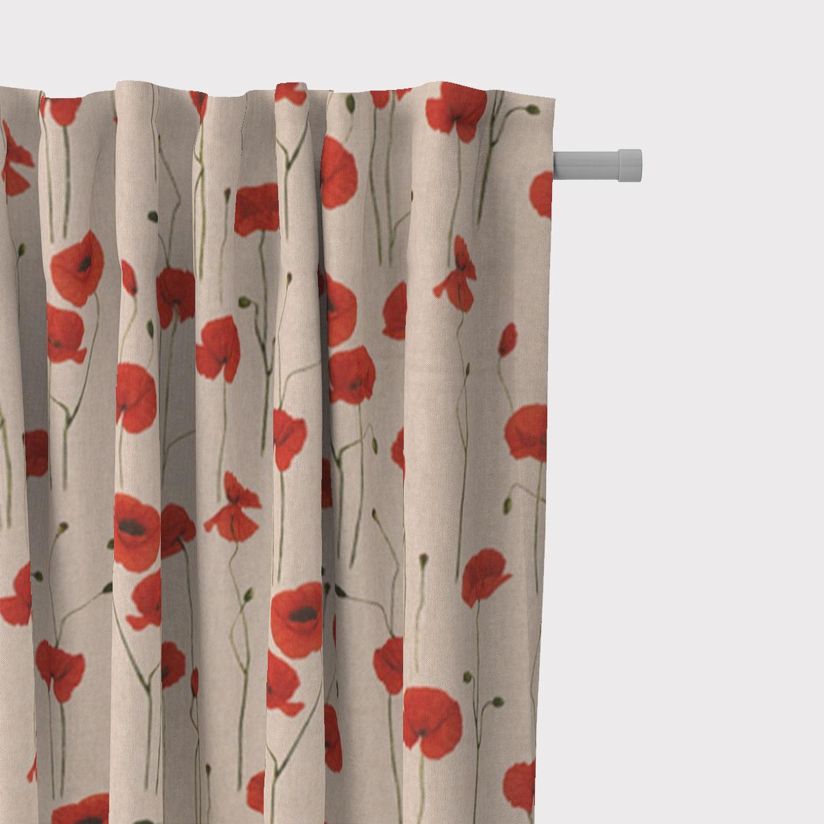 SCHÖNER LEBEN. Vorhang Leinenlook Poppy Field Mohnblumen natur rot 245cm oder Wunschlänge