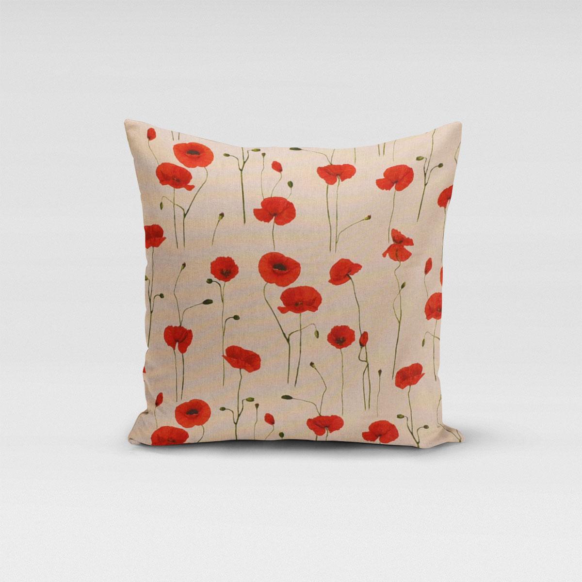 SCHÖNER LEBEN. Kissenhülle Leinenlook Poppy Field Mohnblumen natur rot verschiedene Größen