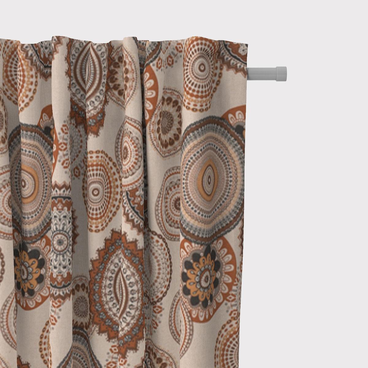 SCHÖNER LEBEN. Vorhang Leinenlook Geometric Mandala natur braun 245cm oder Wunschlänge