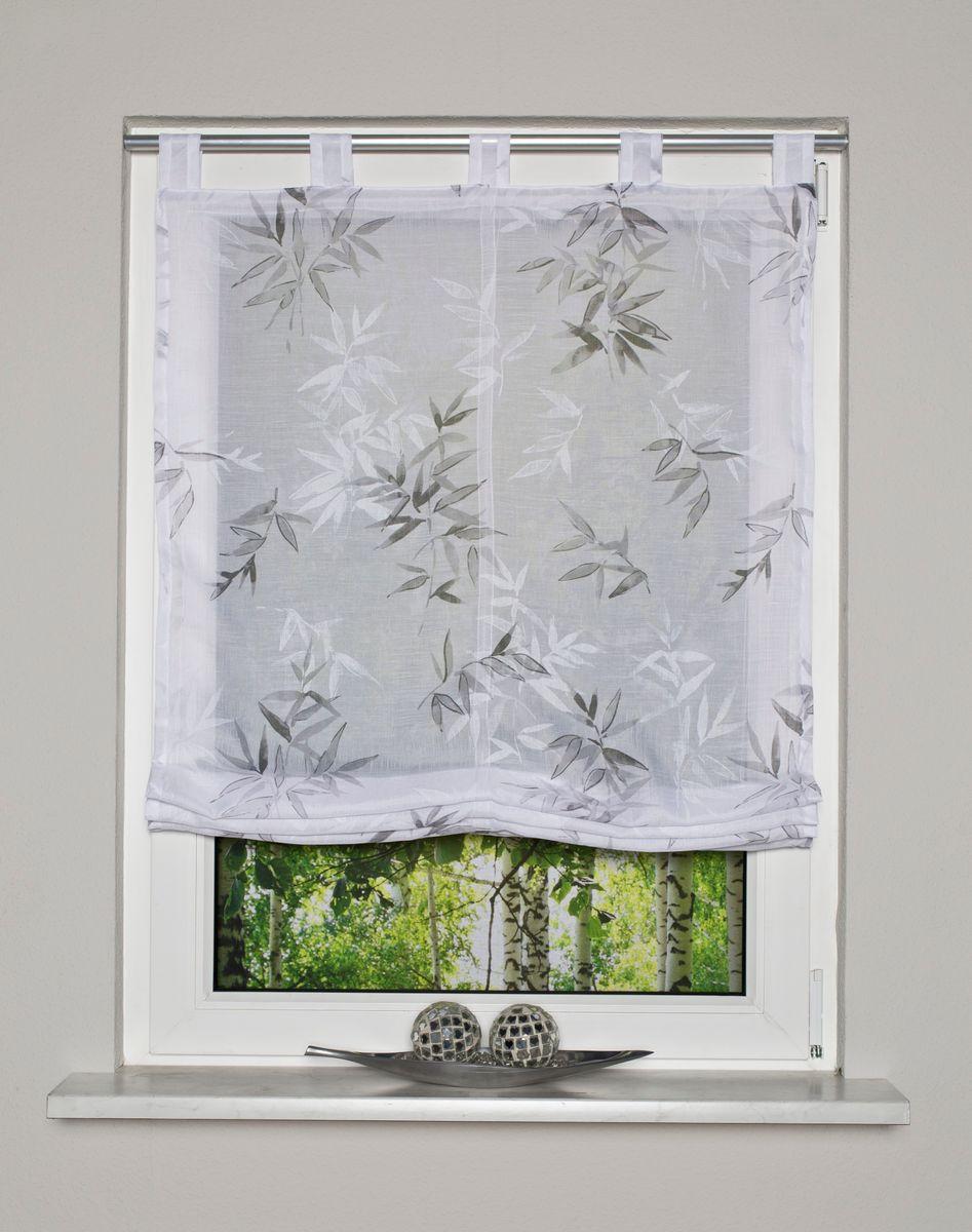 Raffrollo mit Stoffschlaufen Bambusblätter weiß grau inkl. Technik 80x140cm