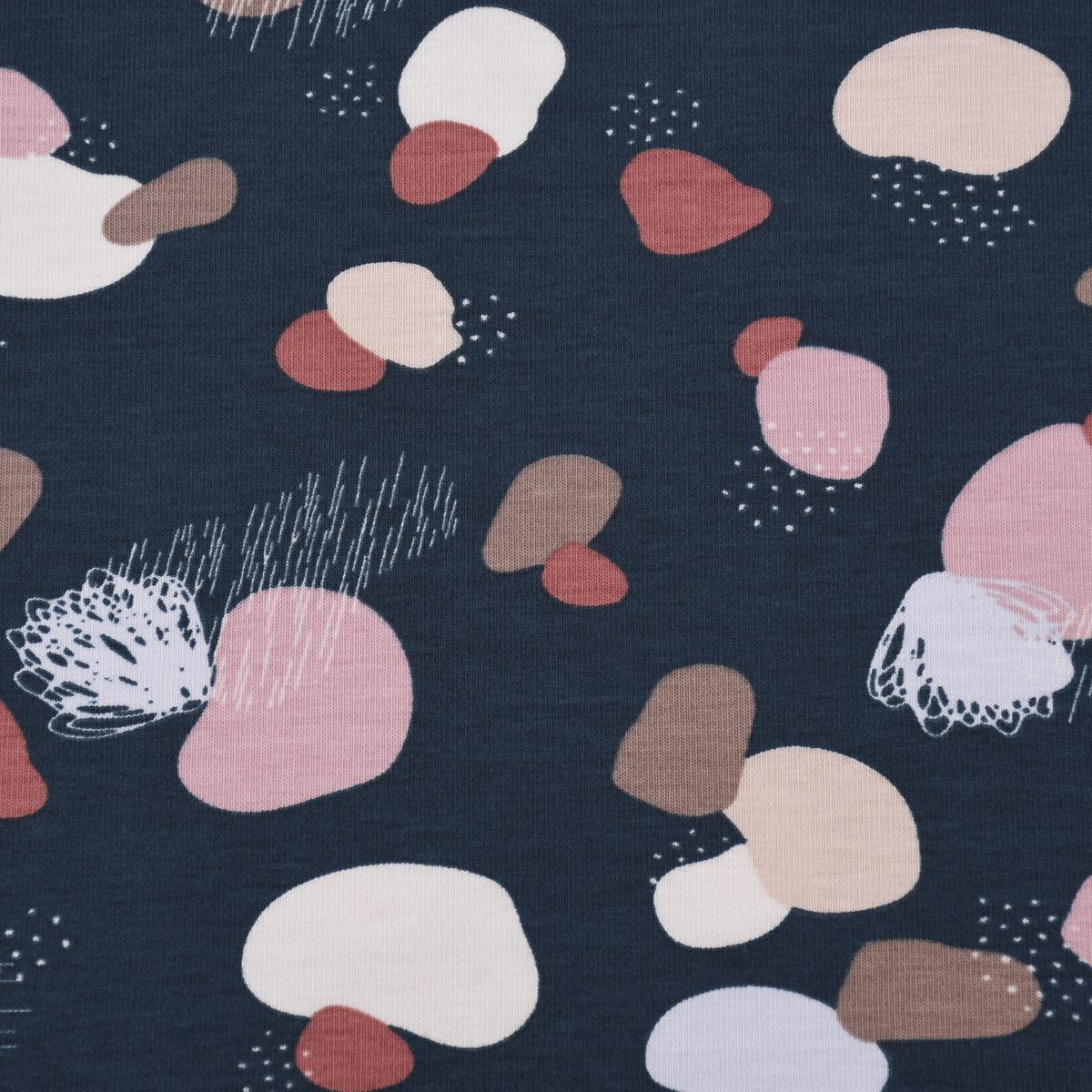 Baumwolljersey Jersey PEBBLES Punkte Tupfen dunkelblau rosa hellblau 1,45m Breite
