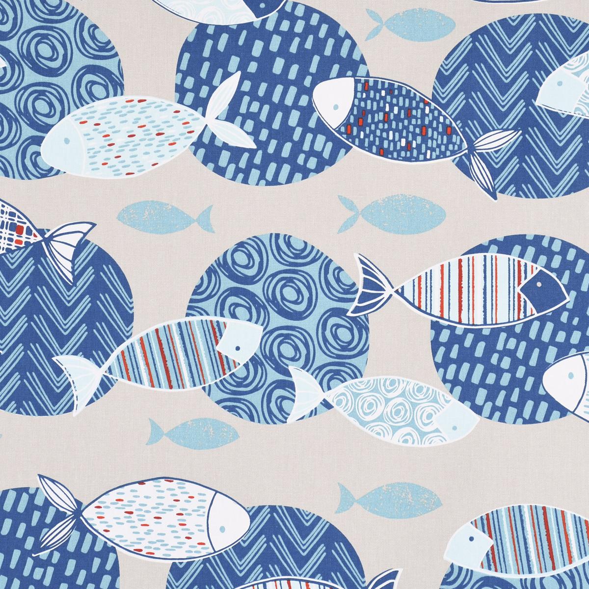 Dekostoff Baumwollstoff Poisson Fische Kreise beige blau 160cm Breite