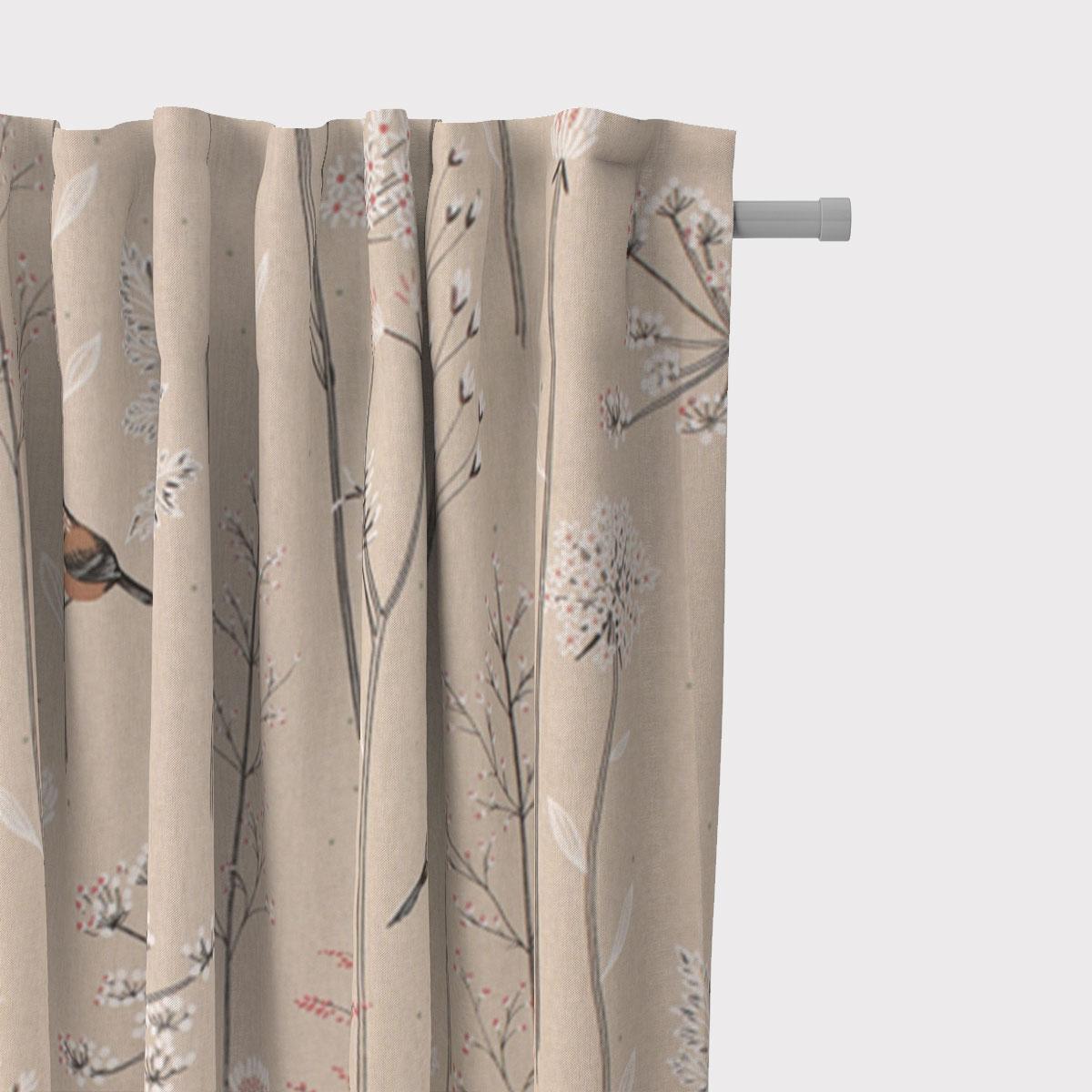 SCHÖNER LEBEN. Vorhang Leinenlook Soft Branch Blüten Gräser Vögel natur rosa 245cm oder Wunschlänge