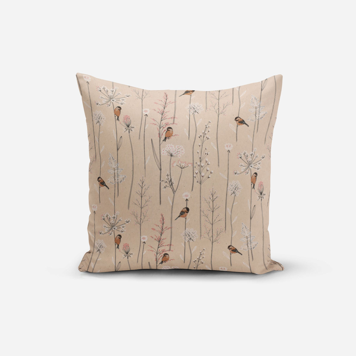 SCHÖNER LEBEN. Kissenhülle Leinenlook Soft Branch Blüten Gräser Vögel natur rosa verschiedene Größen