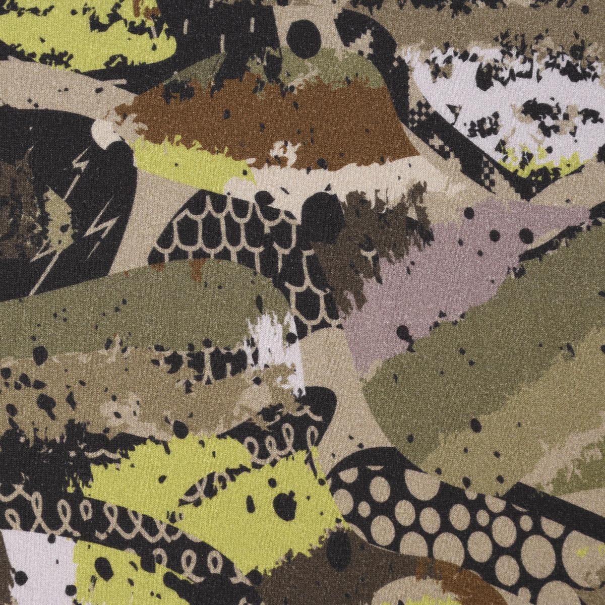 Bio Sweatstoff Soft Sweat GOTS Camouflage abstrakt grün khaki beige 1,45m Breite