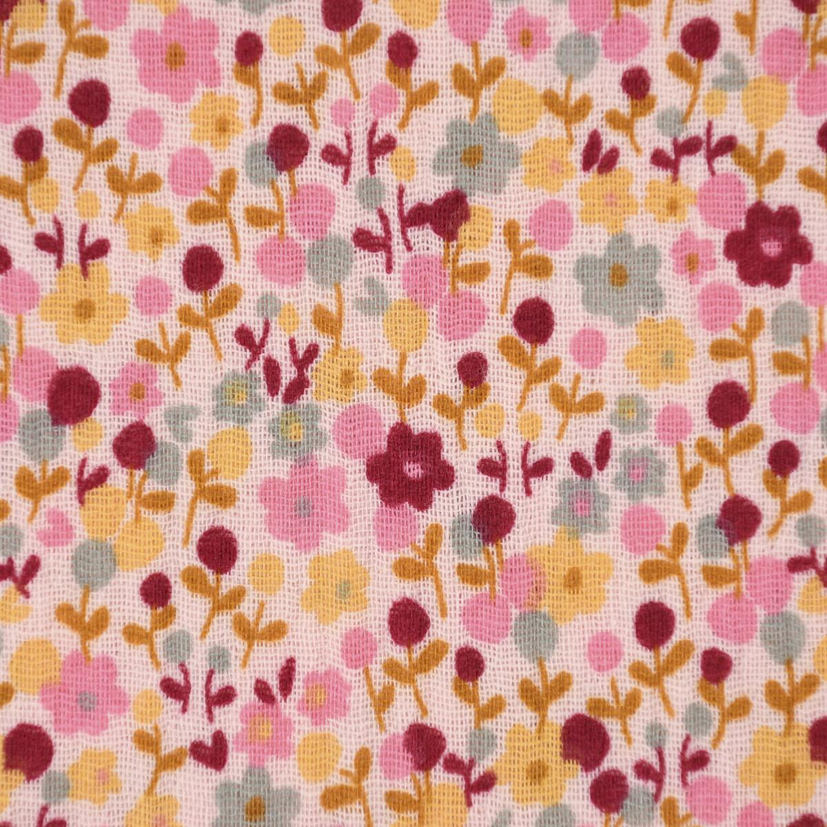 Double Gauze Musselin GOTS Bio Mini Blumen rosa gelb pink mint 1,35m Breite