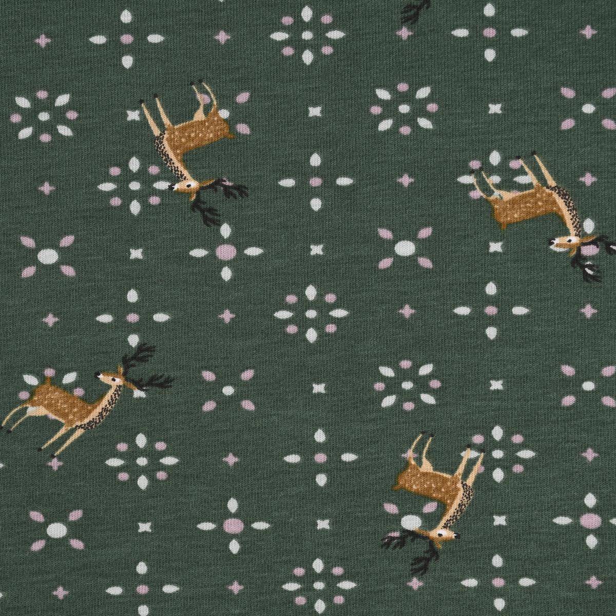 Baumwolljersey Jersey Reh Hirsch Punkte grün braun rosa 1,45m Breite